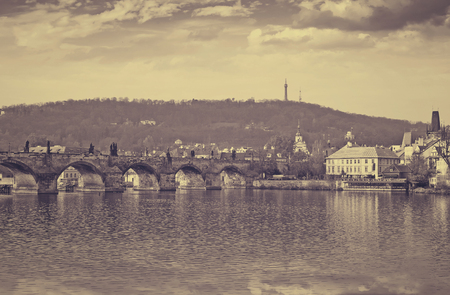charles bridge: Day view of Prague wih Charles bridge. Czech Republic Stock Photo