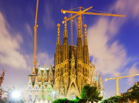 Sagrada Familia in evening. Barcelona