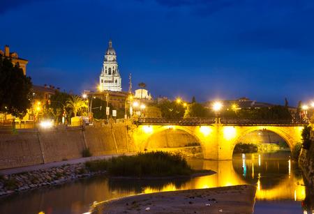 viejo: Puente Viejo de los Peligros in night. Murcia, Spain