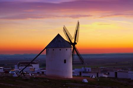 campo: windmills in sunrise. Campo de Criptana, La Mancha, Spain