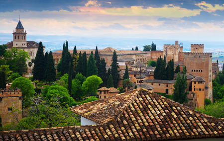 the  alhambra: General  view to   Alhambra in evening time.  Granada,  Spain