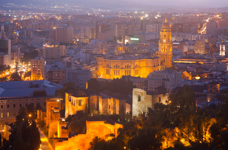 cityspace: View of Malaga Cathedral and cityspace from castle in night. Spain Stock Photo