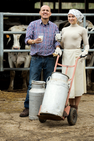milk cans: Smiling male and female farmers holding large metallic milk cans in hangar with cows