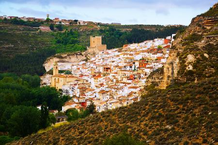 view of Alcala del Jucar with castle. Castile-La Mancha, Spain