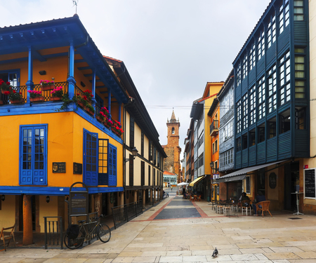 spanish home: OVIEDO, SPAIN - JULY 2, 2015:  Street with traditional  asturian  dwelling houses at  Oviedo.  Spain