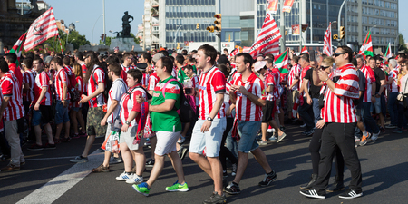 BARCELONA, SPAIN - MAY 30, 2015: Football Fans of Athletic Bilbao before Copa del Rey final the Barcelona club in Barcelona, Spain