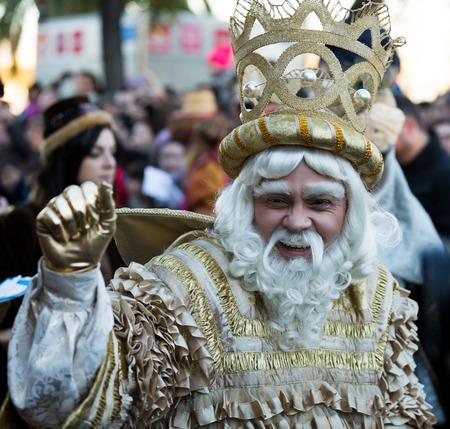 melchor: BARCELONA, SPAIN - JANUARY 5, 2016: Cabalgata de Reyes Magos in Barcelona, Spain.