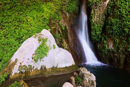 cavern: Waterfall in grot. Provincia de Jaen, Spain