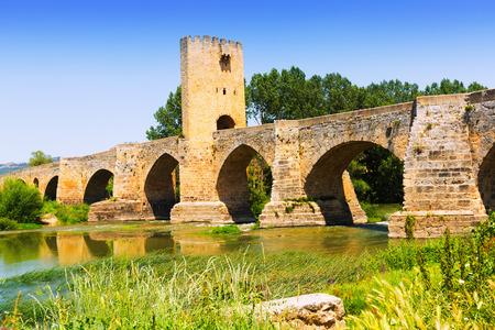 Medieval bridge near Frias. Province of Burgos, Spain