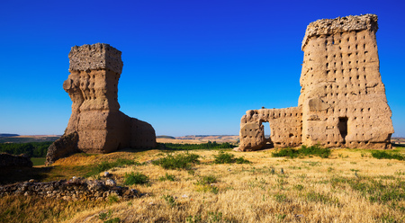 castile: View of  Ruined  castle of Palenzuela.  Castile and Leon, Spain