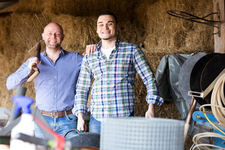 hayloft: Two farm workers tedding the hay at hayloft. Focus on the right man