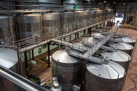 fermentation: General view of modern wine factory with fermentation tanks