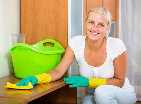 cleanup: Positive housewife doing regular clean-up inside