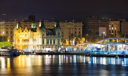 Port  at Barcelona in night. Spain