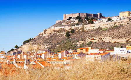 chinchilla: Castle at mount.  Chinchilla de Monte-Aragon,  Spain