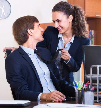 molestation: Secret office romance between chief and assistant: touching by stealth