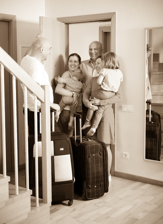 kindred: Happy family seeing off the relatives to home from holidays