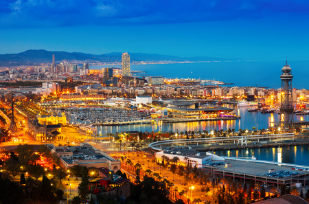 columb: Top view of Port in Barcelona during evening. Catalonia, Spain Stock Photo