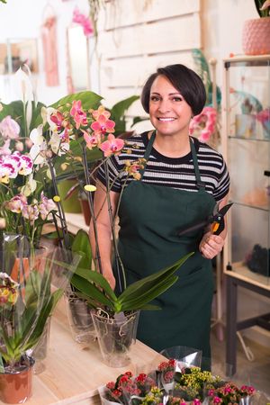 horticultural: Smiling female florist holding horticultural tools in gardening store