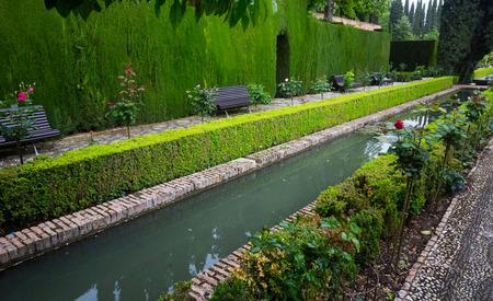 watergarden: Court of the Water Channel (Patio de la Acequia ) at Generalife. Granada, Spain Stock Photo