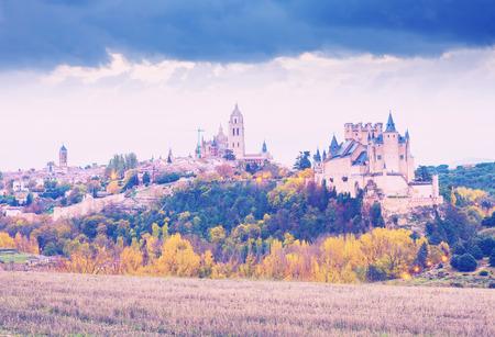 castile and leon: Alcazar of Segovia in november.  Castile and Leon, Spain