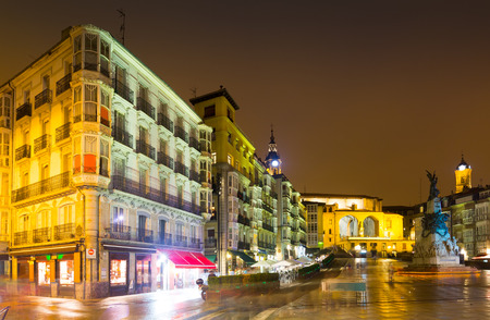 Evening view of    Virgen Blanca Square (Andre Maria Zuriaren plaza). Vitoria-Gasteiz,  Spain Stock Photo