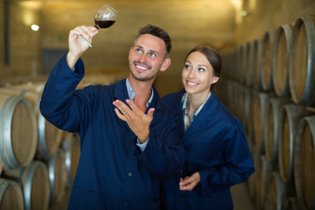 aging american: Two smiling winery professionals in uniform holding glass wine in big cellar Stock Photo