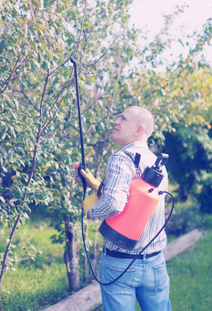 insecticidal: working man with garden spray  in orchard