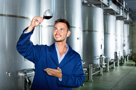 Glad efficient man worker wearing uniform standing with glass of wine in fermenting section on winery manufactory Stock Photo