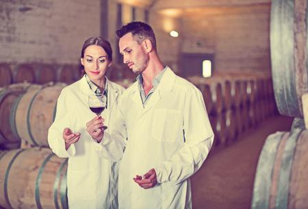 diligente: Retrato de hombre sonriente positivo diligente y mujer con abrigos sosteniendo el vaso de vino en la bodega de la bodega