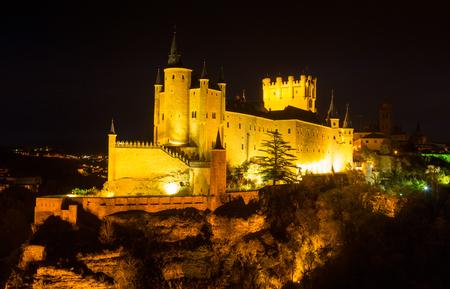 castile leon: Castle of Segovia in  night. Castile and Leon, Spain Editorial