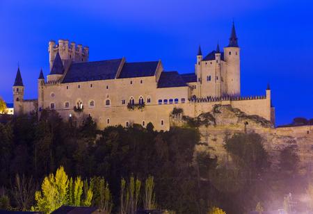 Castle of Segovia  in november evening. Castile and Leon, Spain