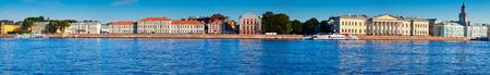 piter: Panoramic view of St. Petersburg. Vasilyevsky Island in summer day