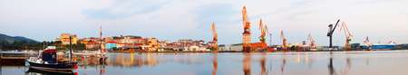 seaport: Morning panorama of Industrial seaport of Maliano. Santander, Spain Stock Photo