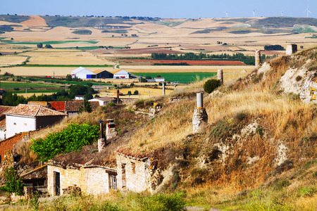 Dwelling  houses built into ground. Palenzuela.  Castile and Leon, Spain