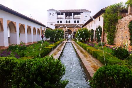 watergarden: GRANADA, SPAIN - MAY 13, 2016: Court of the Water Channel (Patio de la Acequia ) at Generalife. Granada