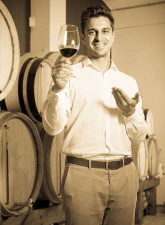 30s: positive adult man 30s having wine tasting in cellar with woods Stock Photo