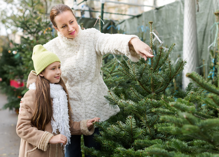 Positive mother and daughter staying at market among Christmas trees. Focus on girl