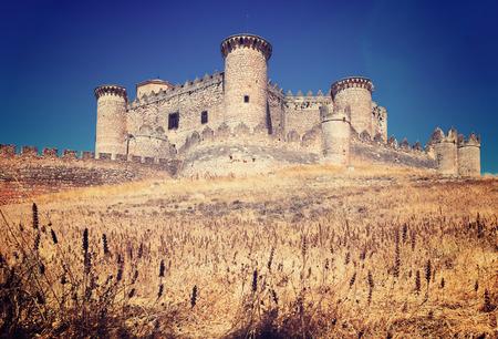 General view of Castle in Belmonte. Cuenca, Spain Editorial