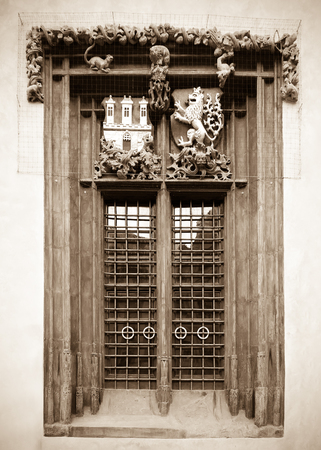 old town hall: Window in Old town hall. Prague, Czechia