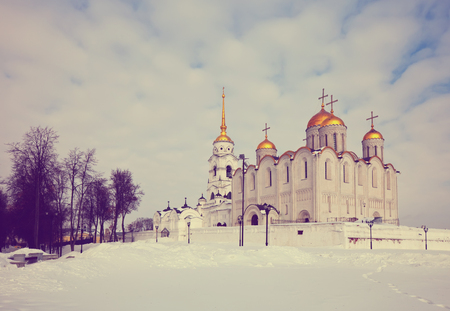 vladimir: Assumption cathedral  at Vladimir in winter, Russia Stock Photo