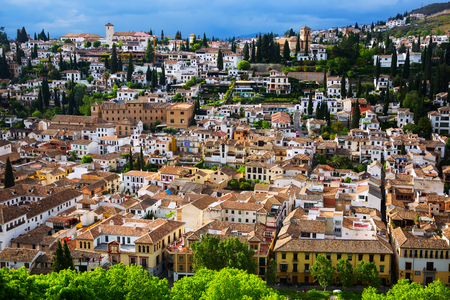 View of  Granada cityspace in cloudy day.   Spain