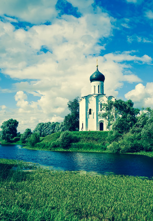 nerl: Church of the Intercession on the River Nerl in summer