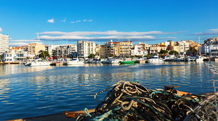 LAMPOLLA, SPAIN - AUGUST 13, 2014: Fishing port at typical mediterranean town Editorial