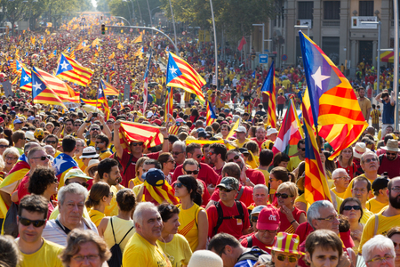 demonstration: BARCELONA, SPAIN - SEPTEMBER 11, 2014: People at  rally to 300th anniversary of  loss of independence of Catalonia  in Barcelona
