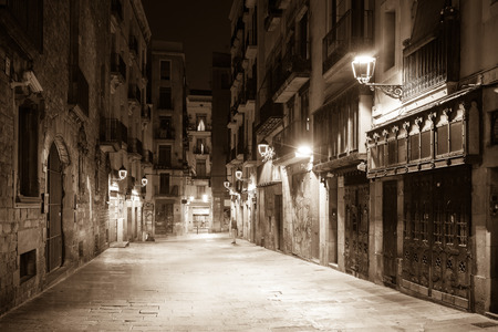 gotico: night view of Old street at   Barcelona, Spain