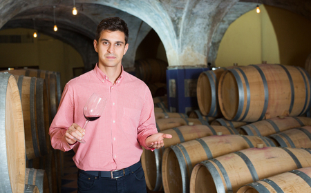 taster: Serious young man posing among wooden barrels in winery cellar