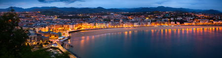 basque country: Panorama of   San Sebastian  in  night. Basque Country, Spain