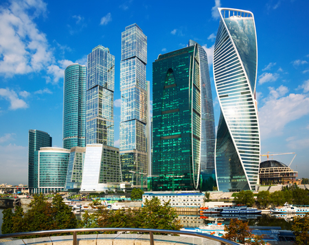famous industries: View on moscow international business center on bright summer day Stock Photo
