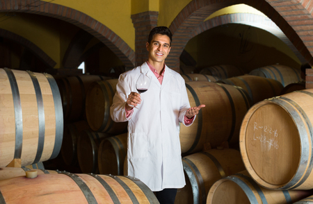 laboratorian: Professional taster of winery posing with wine in traditional cellar